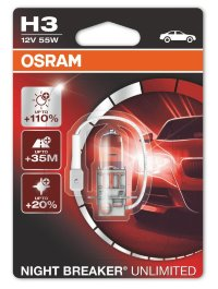 Автолампа  H3  12V 55W NIGHT BREAKER UNLIMITED +110%  64151NBU-01B OSRAM