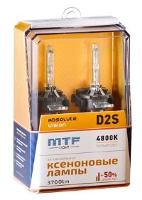 Ксеноновые лампы MTF Light D2S, ABSOLUTE VISION +50%, 3700lm, 4800K, 35W, 85V, 2шт. Арт.:AVBD2S