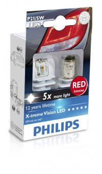 Светодиод 12V/24V P21/5W (BA15s) LED RED 12899 R X2 PHILIPS