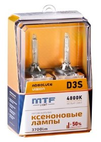 Ксеноновые лампы MTF Light D3S, ABSOLUTE VISION +50%, 3700lm, 4800K, 35W, 42V, 2шт. Арт.:AVBD3S