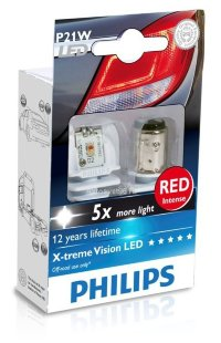 Светодиод 12V/24V P21W (BAY15d) LED RED 12898 R X2 PHILIPS