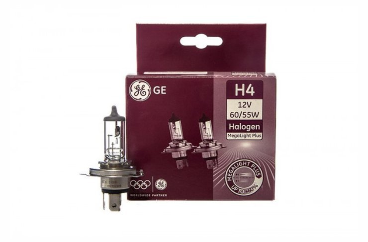GE 12V H4  MegaLight Plus, 60/55W, P43t  лампа, тип 50440MPU (шк 91618) (2шт.)
