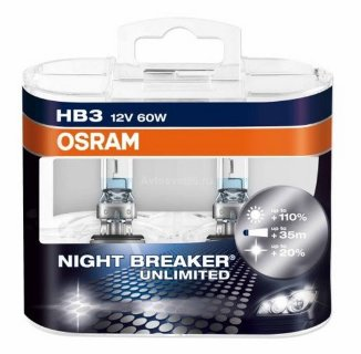 Автолампа HB3  12V 55W (P14.5s) NIGHT BREAKER UNLIMITED + 110% 9005NBU_DuoBox OSRAM
