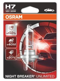 Автолампа  H7 12V 55W (PX26d) NIGHT BREAKER UNLIMITED + 110% 64210NBU-01B OSRAM