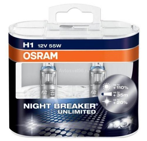 Автолампа  H1 12V 55W (P14.5s) NIGHT BREAKER UNLIMITED +110% 64150NBU_DuoBox ресурс +50% OSRAM