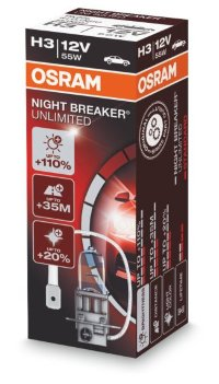 Автолампа  H3  12V 55W NIGHT BREAKER UNLIMITED +110%  64151NBU OSRAM