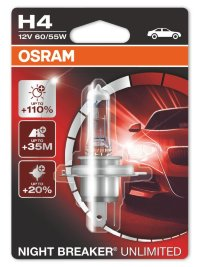 Автолампа  H4  12V 60/55W (P43t-38) NIGHT BREAKER UNLIMITED+110% 64193NBU-01B OSRAM