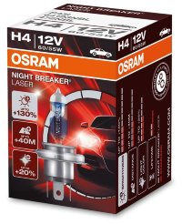 Автолампа  H4  12V 60/55W (P43t-38) NIGHT BREAKER LASER + 130% (64193NBL) OSRAM