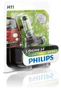Автолампа H11 12V 55W (PGJ19-2) Long Life ECO (блистер) 12362 LLECO B1 PHILIPS