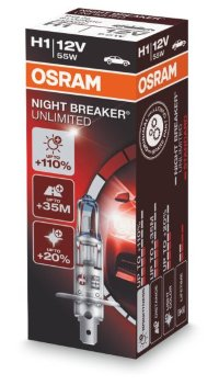 Автолампа  H1 12V 55W (P14.5s) NIGHT BREAKER UNLIMITED +110% 64150NBU ресурс +50% OSRAM