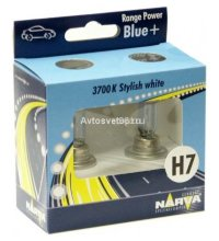 Автолампа H7 (55) PX26d+30% RANGE POWER BLUE( 2шт.) 12V NARVA 48638 RPB S2